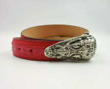 Mauri Men's Red Alligator Leather Trim Belt with Alligator Head Buckle