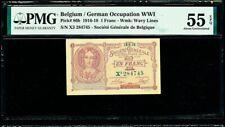 Belgium One Franc WWI 10.06.1918 Pick-86b About UNC PMG 55 EPQ