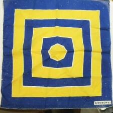 Vintage Givenchy Scarf Blue and Yellow Squares