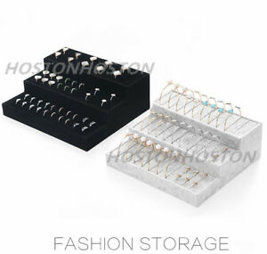 30 Lines Jewelery Bangles Ring Earring Velvet Display Tray Storage Case Box