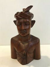 "Vintage Hand-Carved Balinese Teak Bust Male Klung Kung Sculptures, 10"" Tall"