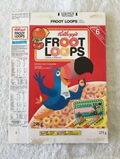 RARE Kellogg Cereal Box FROOT LOOPS Toucan Sam Canada bicycle licence plate ad