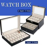 24 Slot Grid Watch Box Leather Display Case Organizer Top Glass Jewelry Storage