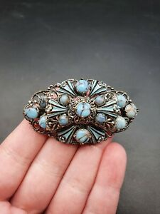 Vintage Antique 1930s Czech Blue Peking Glass Brooch