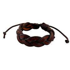Double Woven Leather Bracelet Brown