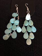"""Pretty Turquoise Teardrop Chandelier Beaded Pierced Earrings 2.5"""" Drop Hooked"""