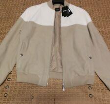 Hugo Boss Men DESIGNER Beige Brown Leather Jacket Coat Medium Large 38r