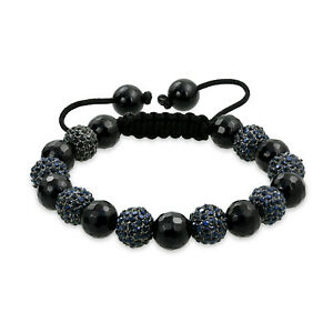 Pave Crystal Ball Shamballa Inspired Bracelet Black Cord