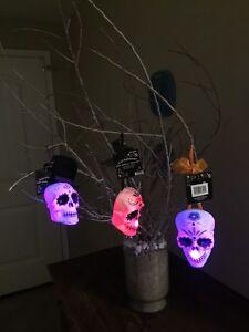 +Halloween Day of The Dead Dia De Muertos Sugar Skull LIGHTED Hanging Ornaments