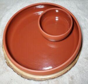 Terra Cotta Chip and Dip Tray Dish By Bortner & Bortner USA Pottery.