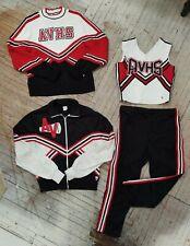 Vintage High School Varsity Black White Red Cheer Cheerleading Jacket & Uniform