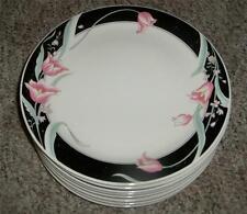 4 China Pearl Serena 1988 Black Pink Tulips Cream Background Dinner Plates