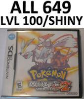 Pokemon White Version 2 All 649 Event Shiny DS Lite DSi 3DS XL Game Unlocked