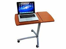 PORTABLE ROLLING LAPTOP & DESK TABLE W / SPLIT TOP HOSPITAL BED FOOD TRAY COMPUT