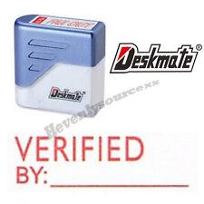 { VERIFIED BY } Deskmate Red Pre-Inked Self-Inking Rubber Stamp #KE-V02