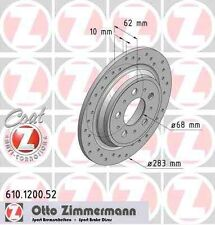 Disque de frein arriere ZIMMERMANN PERCE 610.1200.52 VOLVO S70 P80_ 2.4 Turbo 19