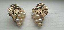 Vintage Trifari Gold Tone Faux Pearl Grape Leaf Design Clip On Earrings