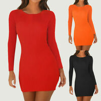 ❤️ Womens Ribbed Long Sleeve Slim Mini Dress Ladies Casual Party Bodycon Dresses