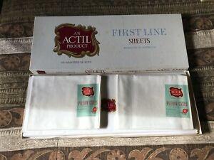 Vintage Actil Sheet Set & Pillow Cases Rare Queen MIB Luxury Pure Cotton #1