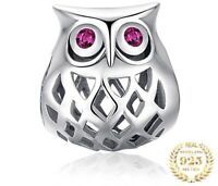 Openwork Hollow Wise Owl Red CZ Pave Charm Genuine S925 Sterling Silver