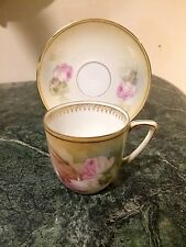 ANTQ. RS Germany Demitasse Cup And Saucer Floral Rose motif