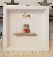 LOVE driftwood & pebble art picture. 23cm white frame. Personalised. Valentines