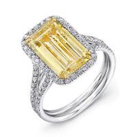 3.10 Carat Fancy Light Yellow Emerald Cut Diamond 14k White Gold Engagement Ring