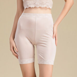 Womens Silk Knit Legging Lady's Shorts With Lace Trim