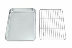 Toaster Oven Tray and Rack Set P&P Chef Stainless Steel Broiler Baking Pan with