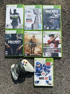 Lot Of 7 Xbox 360 Games & Wired Controller Call Of Duty MW3 Black Ops MW2 Ghosts