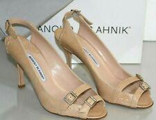 NEW Manolo Blahnik KONAK Pumps EXOTIC SKINS LIZARD Beige Peep Toe Nude Shoes 40