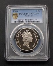1986 Australia Proof Fifty 50c Cent Coin - PCGS Graded PR70DCAM - Impressive