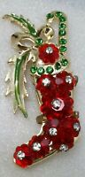 Vintage Rare Art Glass Christmas Stocking Margarita Rhinestone Enamel Pin Brooch