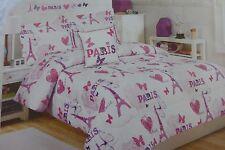 4 pc Cloud 9 Paris with Love Twin Comforter, Sham, Deco Pillow & Decal Set NIP