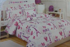 4 pc Cloud 9 Paris with Love Twin Comforter, Sham, Deco Pillow & Decal Set NIP