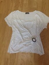 Women's Size Medium White & Black Spotted Wrap Top