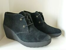 CLARKS Black Real Suede Wedge Sole Ankle Boots * size 7 UK* WIDE FIT