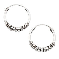 Sterling Silver 14mm Tribal Bali Hoop Earrings EP248