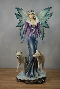 Große Elfe mit zwei Wölfen Figur Fee Elfe Fairy Feenfigur Feenfiguren
