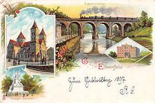 Elberfeld Kirche, Krieger Denkmal, Eisenbahnbrücke, Zug Litho Postkarte 1897