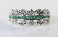 9k 9CT WHITE GOLD COLOMBIAN EMERALD DIAMOND ART DECO INS ETERNITY BAND RING