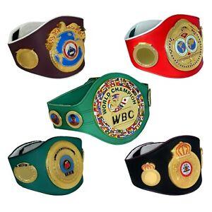 SH WBC IBF IBO WBA WBO Boxing Belt Adult Leather Replica Metal Plates 3D Logo