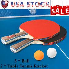 SPORTS CLU'B 2 Pcs Table Tennis Ping Pong Racket Paddle Bat+ 3 Balls Set X3L1