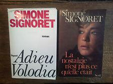 2 livres Simone Signoret Adieu Volodia La nostalgie n'est plus ce qu'elle était