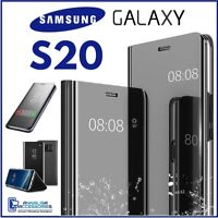 Coque Flip pour Samsung Galaxy S20 Étui Livre Noire A Miroir Clear View 360°