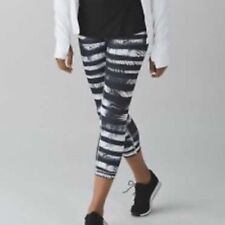 Lululemon SIZE 4 Wunder Under Crop II Black white BHXQ zebra stripe nwt SOLD OUT