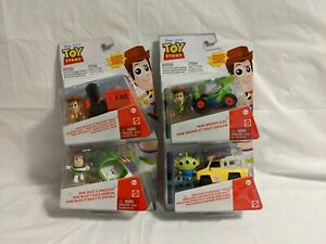 Disney Pixar Toy Story Minis Woody, Buzz. & Alien w/ Vehicle Set Figure Toys NEW