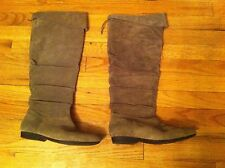women's size 8 1/2M Enzo Angiolini brand knee-high boots Taupe Beige Suede RARE