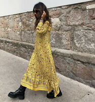 ZARA AW2020 YELLOW FLORAL PRINTED MIDI DRESS SIZE S SOLD OUT BLOGGERS FAVE