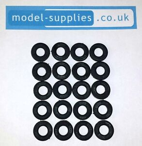 Corgi 15mm O/D Black Reproduction Treaded Rubber Tyres for Cars post 1967